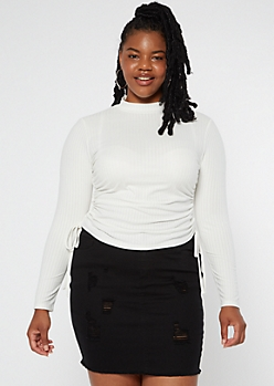 Plus White Ruched Side Mock Neck Top
