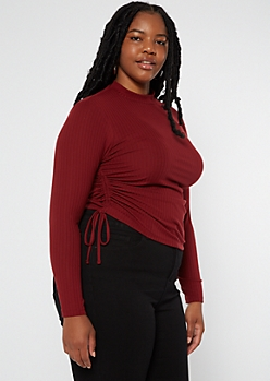 Plus Burgundy Ruched Side Mock Neck Top