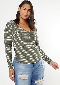 Plus Olive Super Soft Ribbed Snap Henley Top