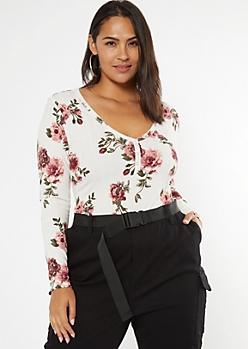 Plus Ivory Rose Print Super Soft Ribbed Snap Henley Top