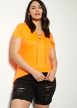 Plus Neon Orange Super Soft Lace Up Tee