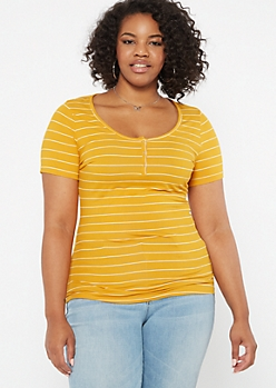 Plus Mustard Striped Snap Front Super Soft Tee