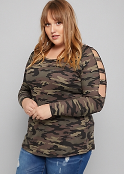 Plus Camo Print Super Soft Ladder Sleeve Tee