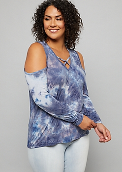 Plus Navy Tie Dye Crisscross Neck Cold Shoulder Tee