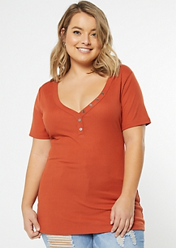 Plus Orange Super Soft Button V Neck Top