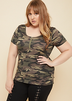 Plus Camo Print Zip Scoop Neck Super Soft Tee