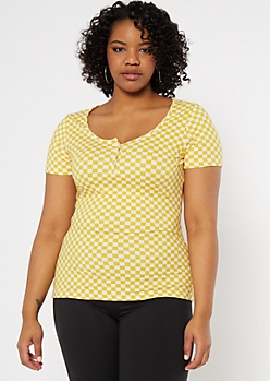 Plus Yellow Checkered Print Snap Front Super Soft Tee