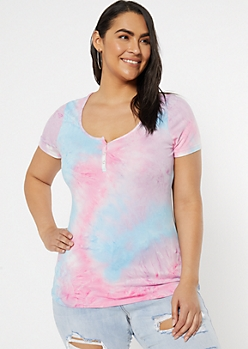 Plus Pink Tie Dye Snap Front Super Soft Tee
