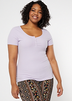 Plus Purple Snap Front Super Soft Ribbed Knit Tee