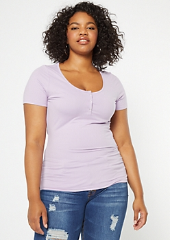 Plus Lavender Snap Front Super Soft Tee