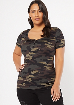 Plus Camo Print Snap Front Super Soft Tee