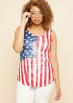 Plus Faded American Flag Super Soft Tank Top