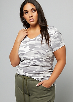 Plus Gray Camo Print Super Soft V Neck Tee