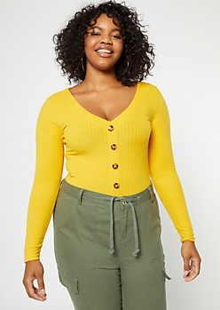 Plus Yellow Button Front V Neck Tee