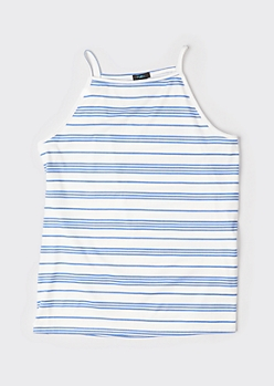 Plus Blue Striped High Neck Ribbed Knit Tank Top