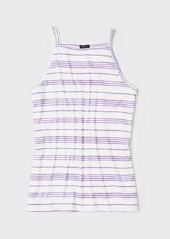 Plus Purple Striped High Neck Ribbed Knit Tank Top