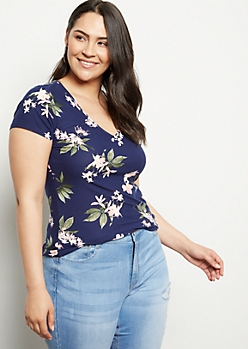 Plus Navy Floral Print Super Soft V Neck Tee