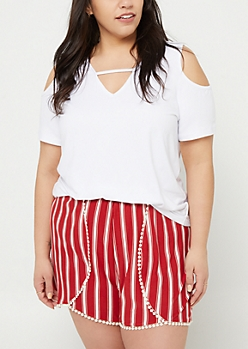 Plus White Cold Shoulder Super Soft Tee