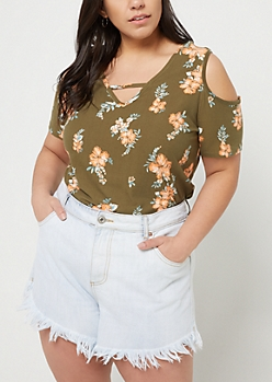 Plus Olive Floral Print Cutout Super Soft Tee