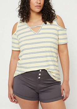 Plus Light Yellow Striped Cold Shoulder Super Soft Tee