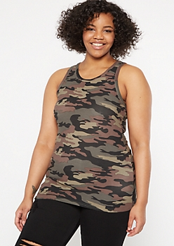 Plus Camo Print Super Soft Tank Top