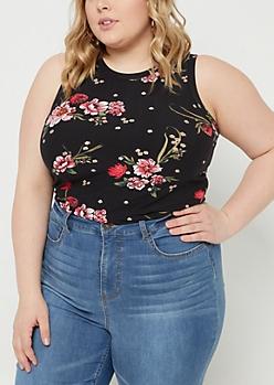 Plus Black Rose Floral Print Super Soft Tank Top