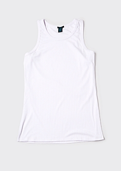 White Super Soft Ribbed Scoop Neck Tank