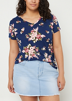 Plus Navy Floral Super Soft V Neck Tee