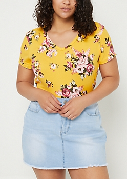 Plus Dark Yellow Floral Super Soft V Neck Tee