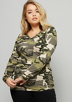 Plus Camo Print Favorite Super Soft Long Sleeve Tee