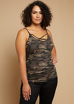 Plus Camo Print Super Soft Crisscross Cami