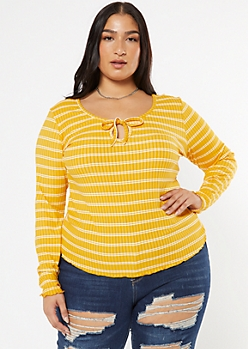 Plus Mustard Striped Tie Front Ribbed Knit Top