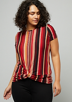 Plus Red Striped Knotted Tee
