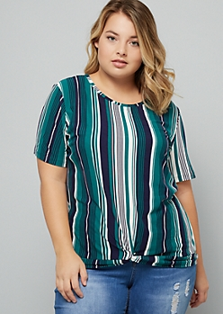Plus Teal Striped Super Soft Knot Front Tee