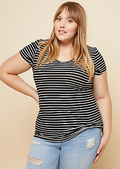 Plus Black Striped Super Soft V Neck Fitted Tee