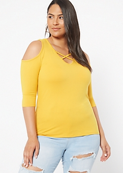 Plus Mustard X Front Cold Shoulder Super Soft Top