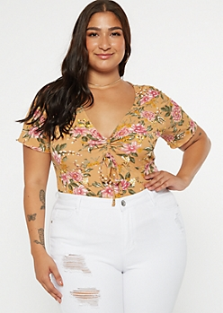 Plus Tan Floral Print Ruffled Sleeve Drawstring Ruched Top