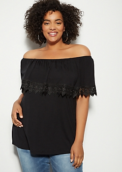 Plus Black Crochet Foldover Off The Shoulder Blouse