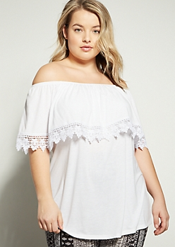 Plus White Crochet Foldover Off The Shoulder Blouse