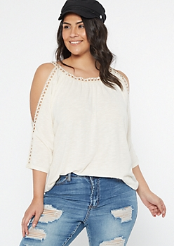Plus Ivory Crochet Cold Shoulder Top