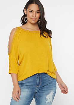 Plus Mustard Crochet Cold Shoulder Top