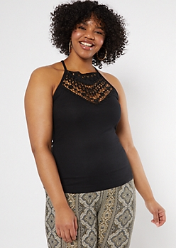 Plus Black Crochet High Neck Tank Top
