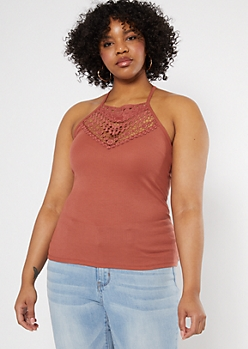 Plus Burnt Orange Crochet High Neck Tank Top