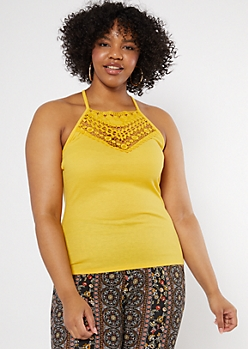 Plus Yellow Crochet High Neck Tank Top
