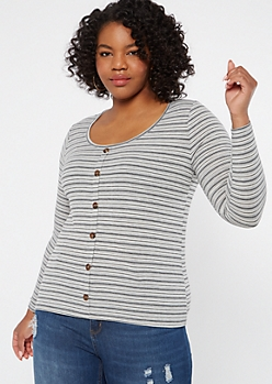 Plus Gray Striped Button Neck Ribbed Top