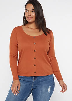 Plus Cognac Button Down Scoop Neck Top