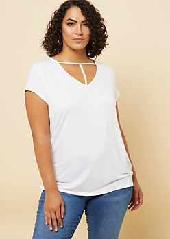 Plus White Strappy V Neck Cap Sleeve Tee
