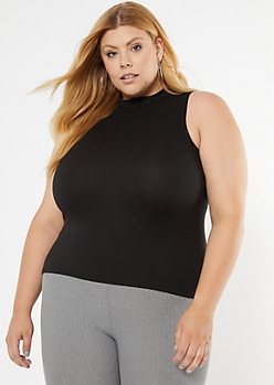 Plus Black Mock Neck Fitted Tank Top