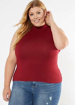 Plus Burgundy Mock Neck Fitted Tank Top