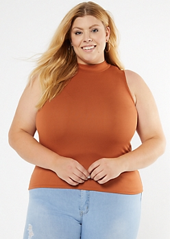 Plus Burnt Orange Mock Neck Fitted Tank Top